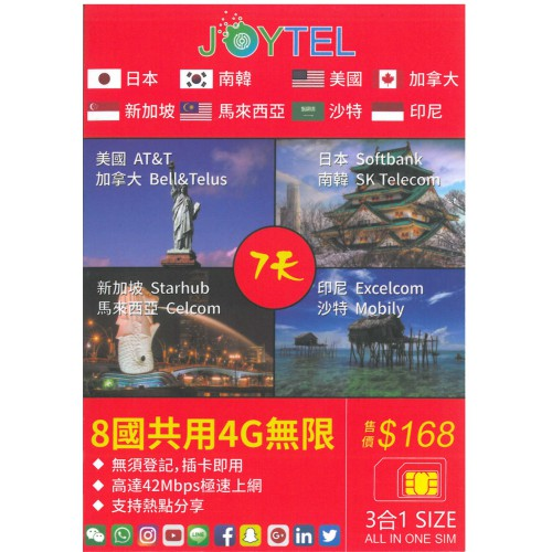 JoyTel 4G 7days 8Countries Unlimited Data Sim