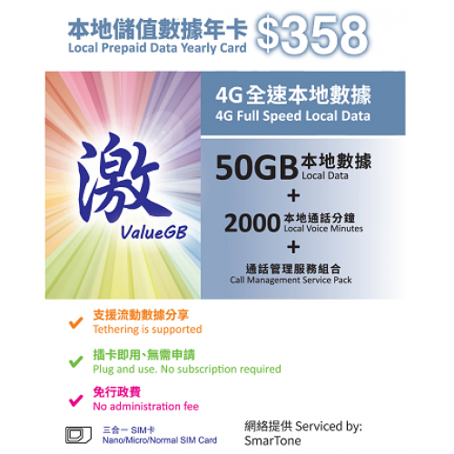 ValueGB HK Local 50GB Prepare Sim