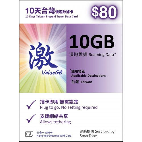 ValueGB 10GB Taiwan 10 Days Data Sim
